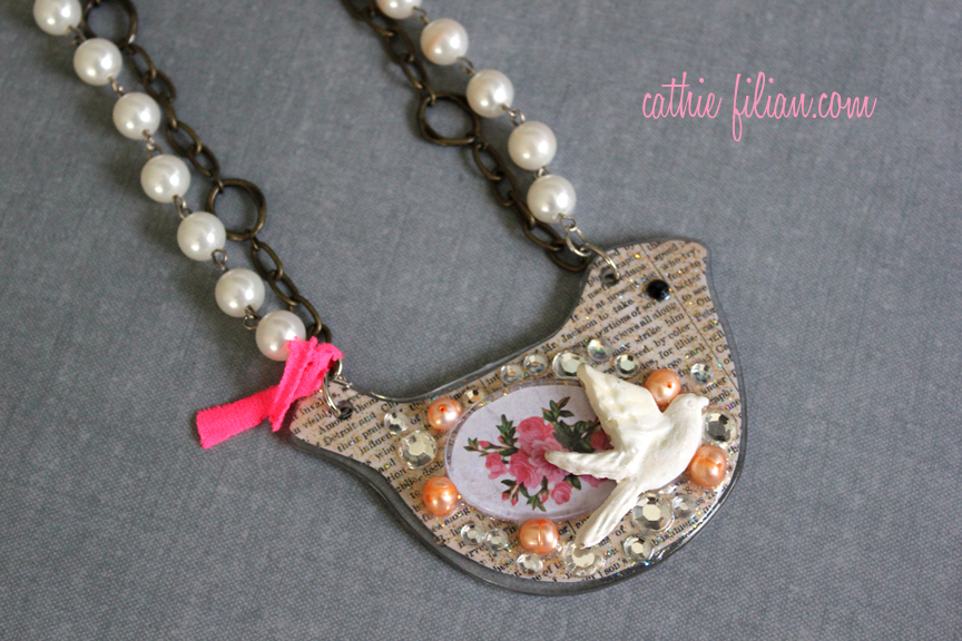 mixed media necklace with podgeables