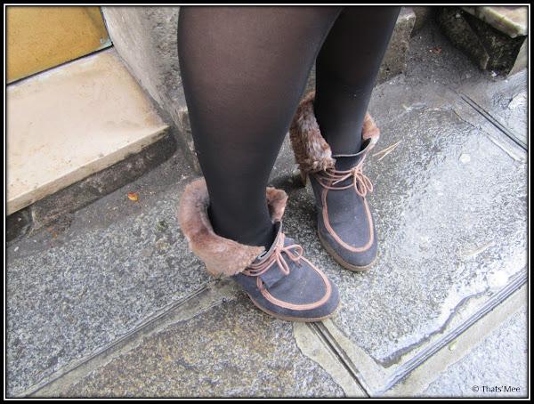 Style de la Semaine Armelle, shoes boots fourrées talons noir et marron Minelli b