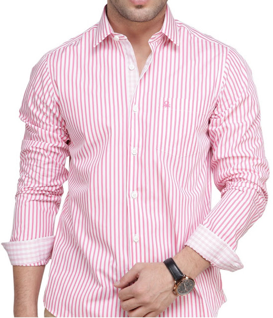 Benetton Pink Full Sleeves mens formal cotton shirt