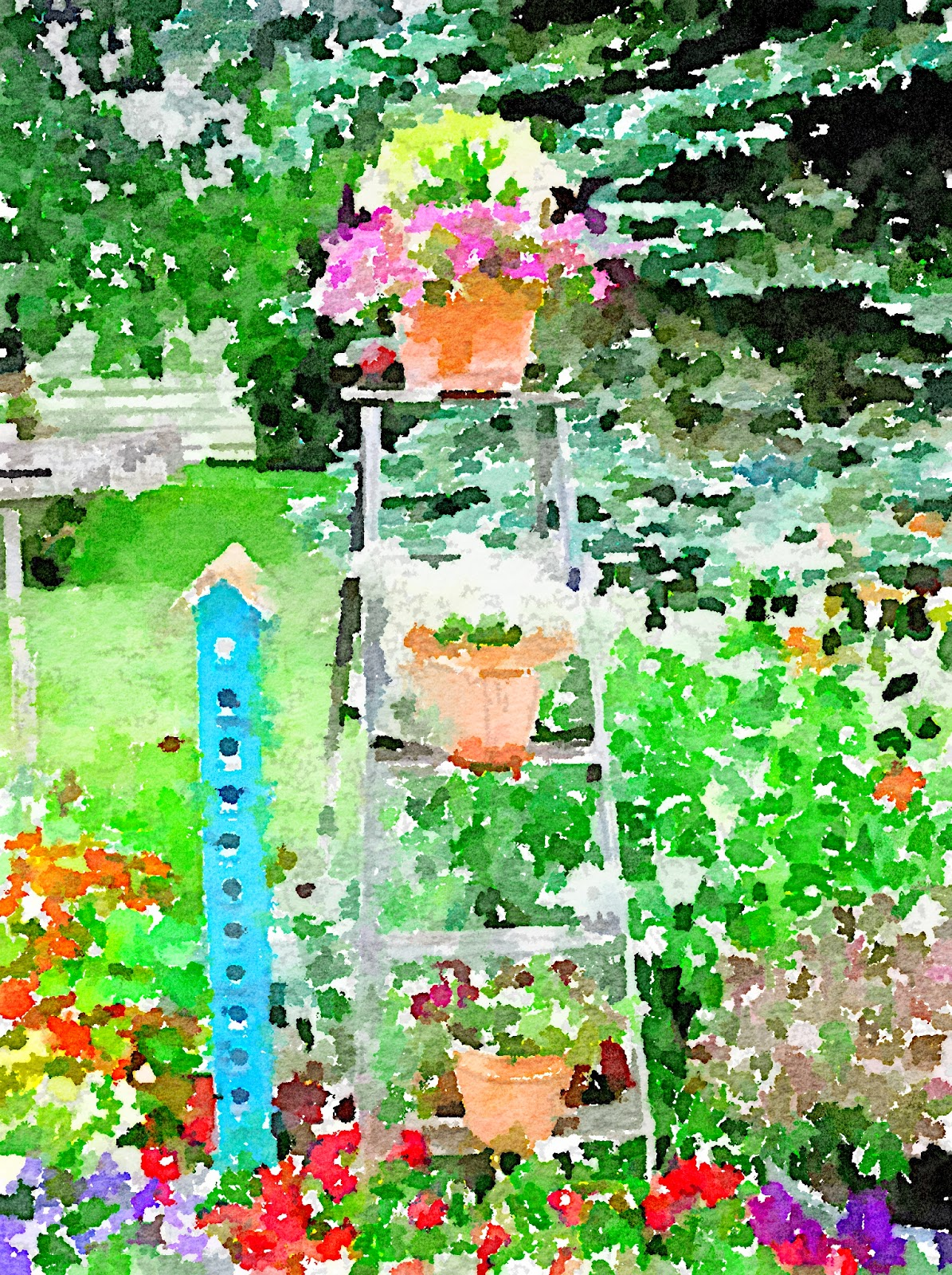 Waterlogue Stepladder in the Garden www.organizedclutterqueen.blogspot.com