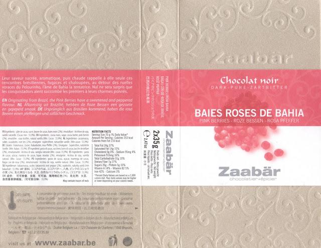 tablette de chocolat noir gourmand zaabär noir baies roses de bahia