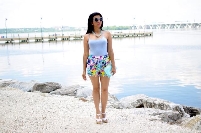 Blue Floral Pom Pom Shorts