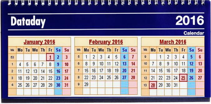 2016 calendar pe 3 luni