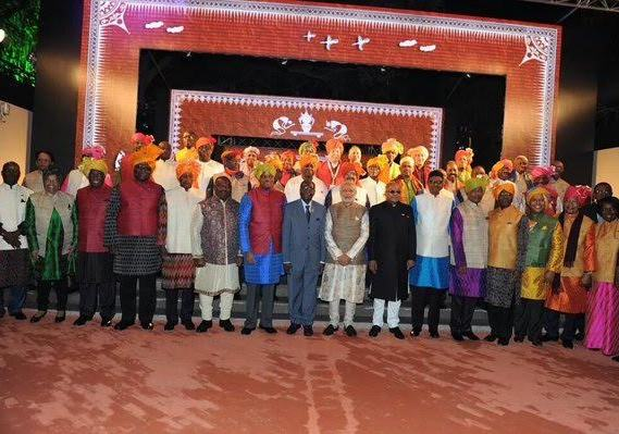 African leaders wear Indian clothes at the Africa India summit