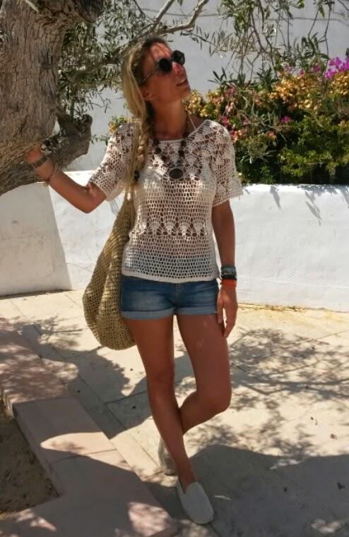 Crochet top and denim - Formentera