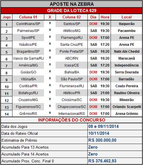 LOTECA 629 - GRADE OFICIAL COMPLETA