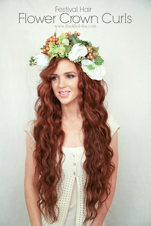 The Freckled Fox Festival Hair Week Flower Crown Curls