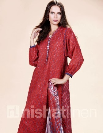 Valentine's Day Wear Red Lawn Dress By NishatLinen
