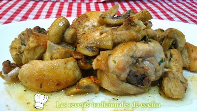 Receta fácil de pollo con champiñones