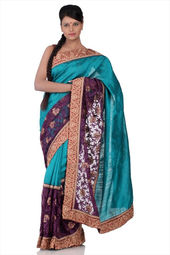 new Peacock Blue Net Saree