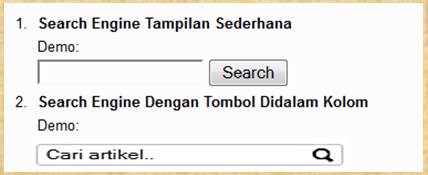 Cara Membuat dan Memasang Search Engine di Blog