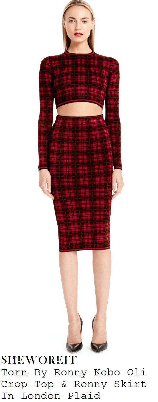 lauren-pope-red-and-black-tartan-plaid-print-high-neck-long-sleeve-and-pencil-midi-skirt-co-ords-ibiza