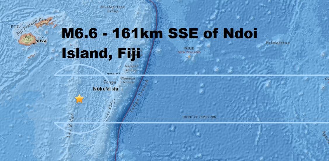 A magnitude 6.6 - 161km SSE of Ndoi Island, Fiji is the second major quake to strike the area...