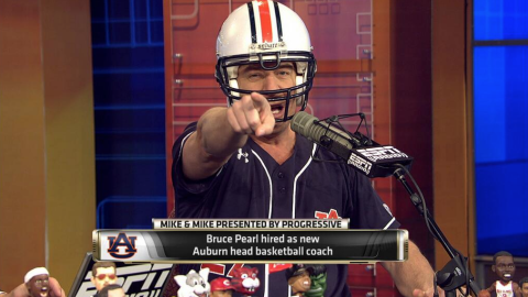 Bruce Pearl dons Auburn football helmet on ESPN's Mike Mike.