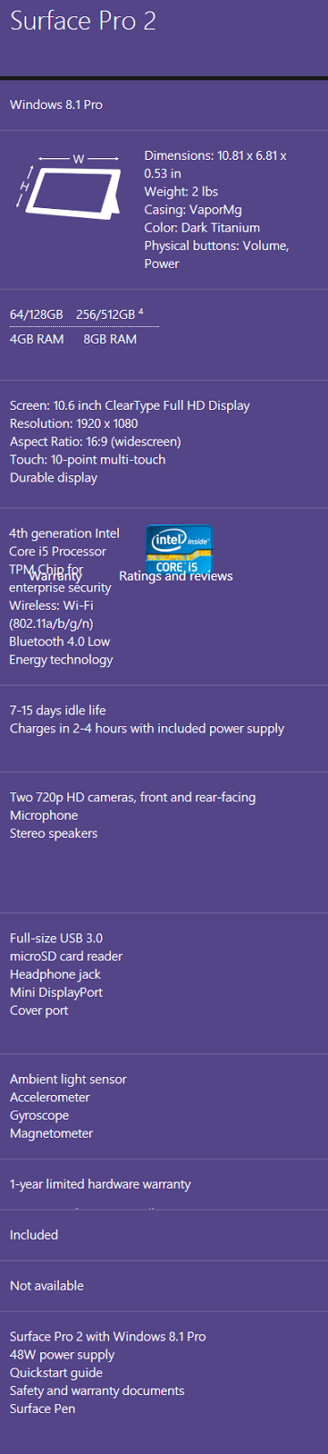 Microsoft Surface Pro 2 Specs and Features