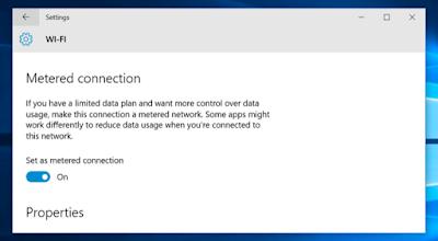 ubah tipe koneksi menjadi metered connection