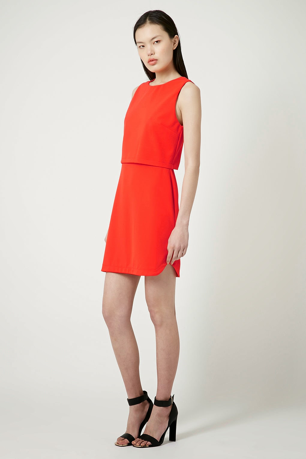 topshop red layer dress