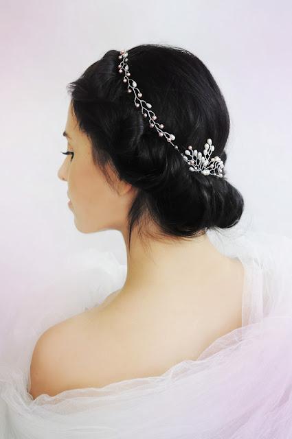 Perłowa tiara ślubna - róż i ecru.