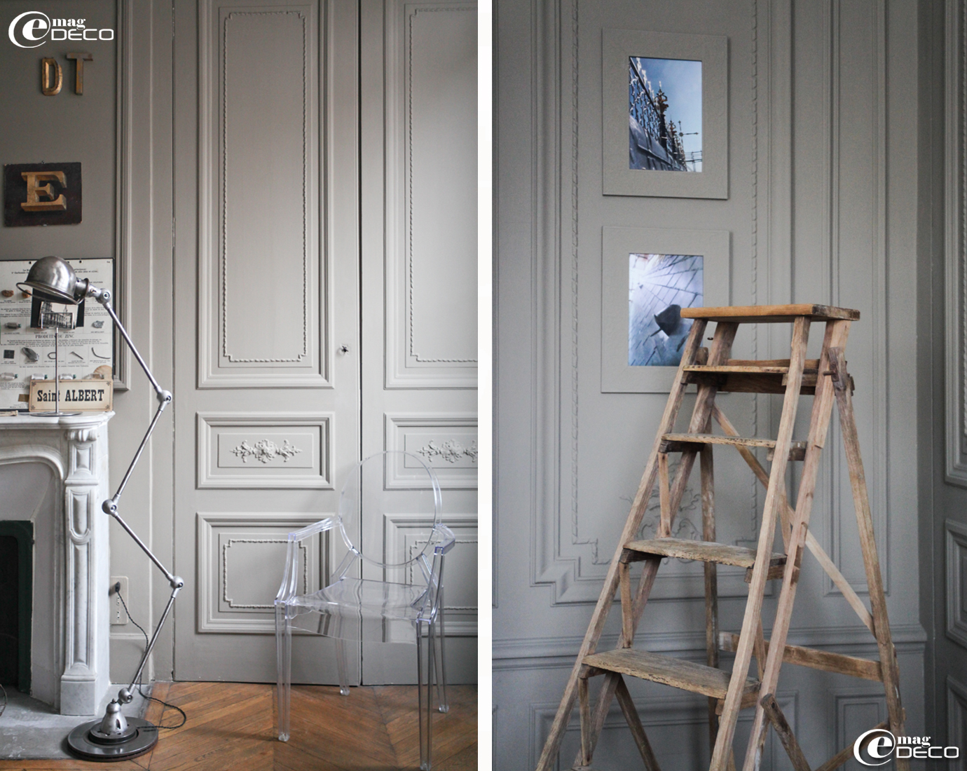 Lampe Jieldé, chaise Louis Ghost et escabeau équipe un bureau très tendance' de Philippe Starck