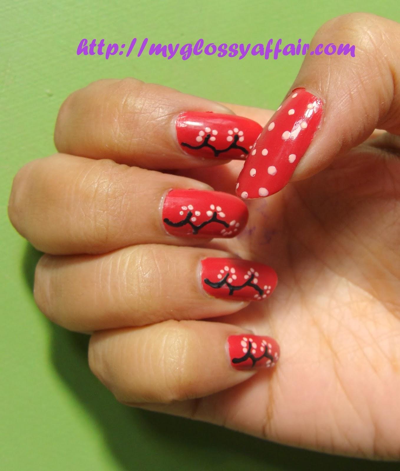 Pink White Nail Art