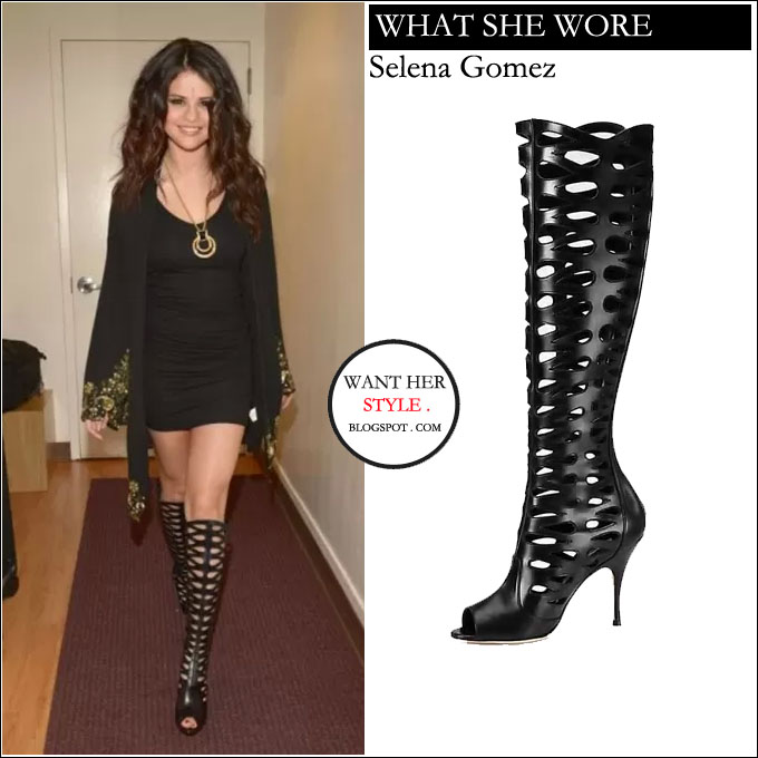 35f01c11572 WHAT SHE WORE  black mini dress with black leather cutout knee-high boots  from Brian Atwood BUY  Brian Atwood Electra ...