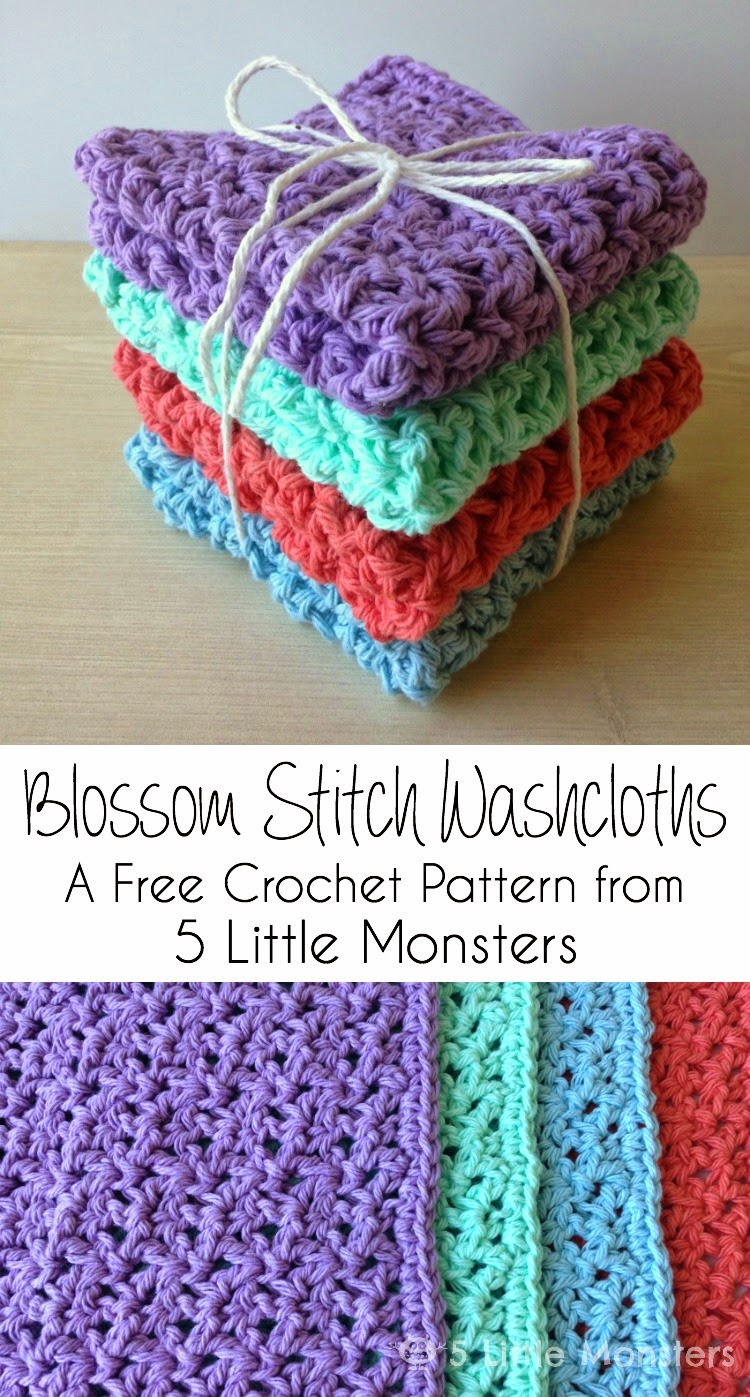 5 little monsters blossom stitch crochet washcloths i made these washcloths a few weeks ago as a mothers day gift they are a little bit lacier and more open than i normally use for dishcloths or washcloths bankloansurffo Gallery