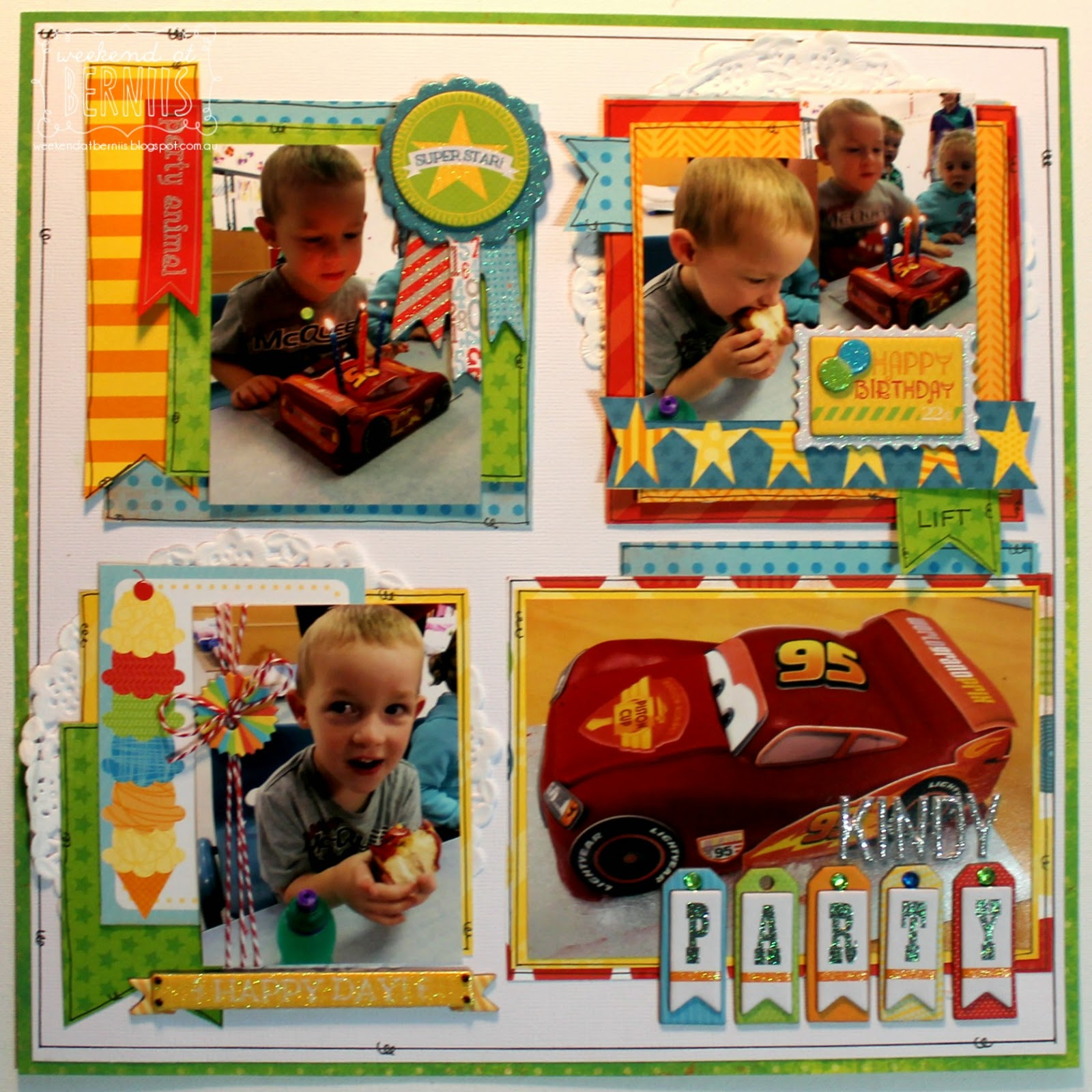 Kindy Party layout by Bernii Miller using the Surprise collection by BoBunny