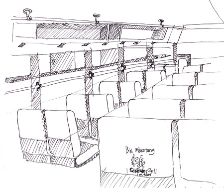 sketsa dalam bis Bratang Surabaya