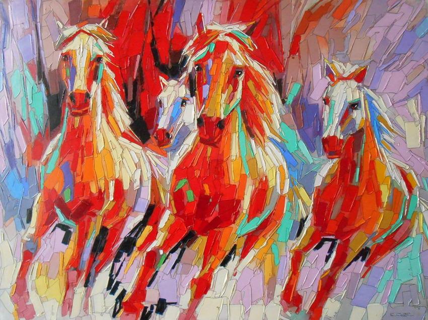 Cuadros modernos pinturas y dibujos briosos caballos for Cuadros verticales baratos