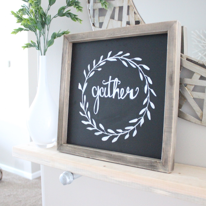 a week or so ago i came across an instagram photo that gave me the inspiration for this gather sign and i thought it would be perfect for the fall and