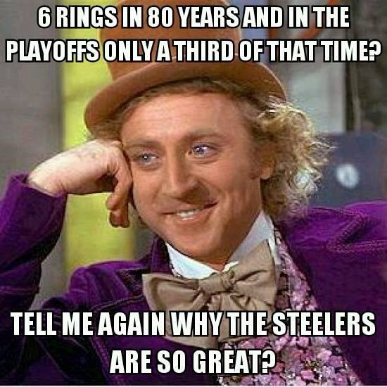 6 rings in 80 years and in the playoffs only a third of that time? tell me again why the steelers are so great?