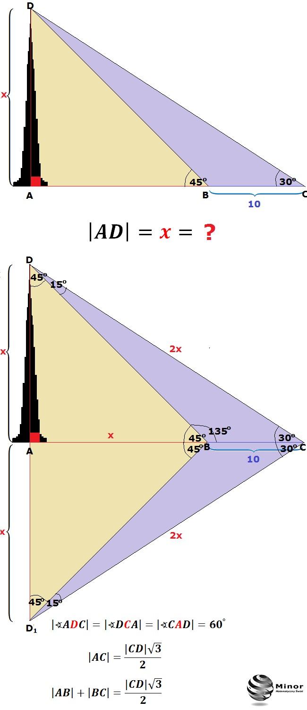 Wierzchołek wieży widać z poziomu ziemi pod kątem 30ᴼ. Z odległości o 10 m mniejszej wierzchołek ten widać pod kątem 45ᴼ.  Obliczyć wysokość wieży.