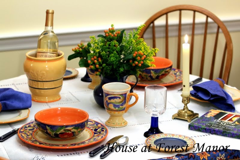 I received four place settings but I only used two here because our kitchen table is small. The Villa della Luna dinnerware place setting includes an 11\  ... & House at Forest Manor: An Italian Tablescape and a Giveaway