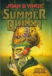 Cover art for The Summer Queen, featuring a pale skinned woman wearing an elaborate mask made of grass, flowers, an feathers. She holds two vials in one hand, one topped with a skull and the other with a spiral.
