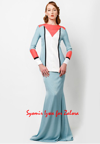 elegant baju kurung dresses design Hari Raya 2014