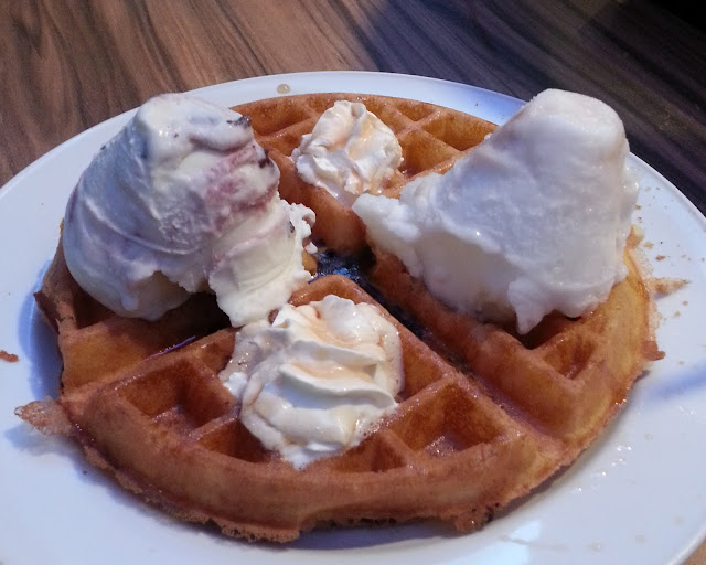 gelare waffles tuesday half price white chocolate raspberry chocolate chip waffles
