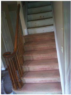 staircase renewal - carpet removed from stair treads. new jersey, nj