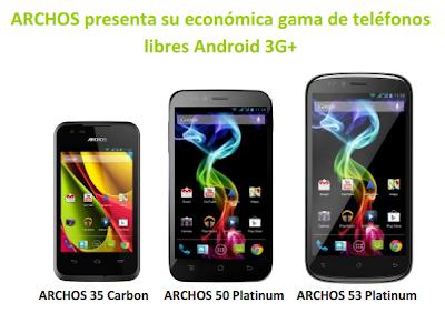 Imagen con los tres nuevos Smartphones de la compañía Archos.