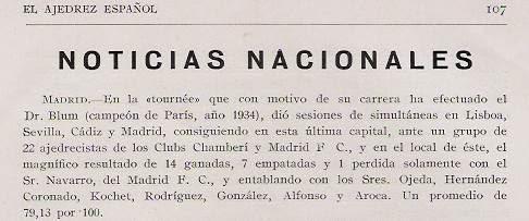 Artículo sobre el Torneo Internacional de Ajedrez del Madrid F.C. 1936 en Ajedrez Español