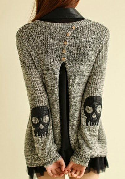 Grey Skull fashion Sweater