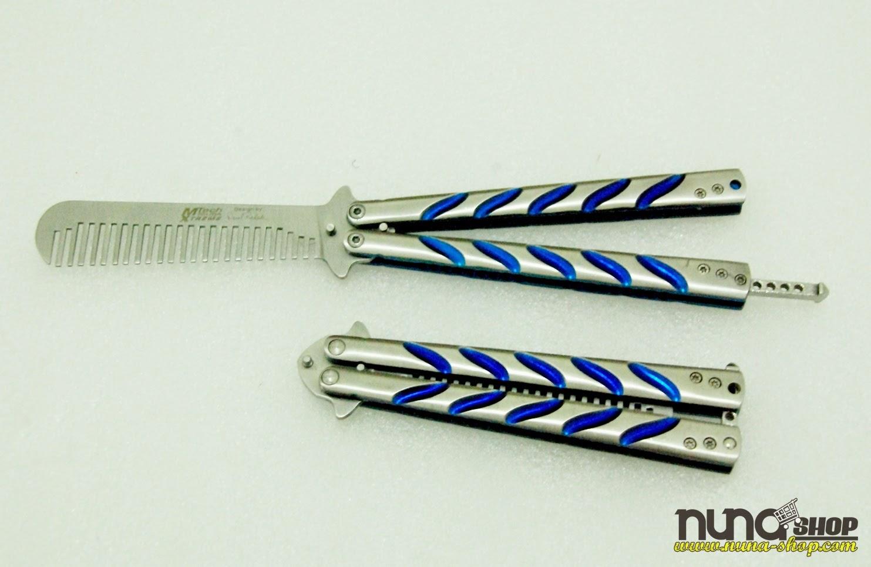 Balisong Butterfly Comb Mtech Warna Silver Terbuat Dari Alumunium