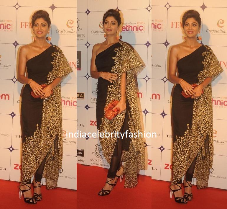 Shilpa shetty in Nikhil Thampi Kaftan Sari at ethnic designer of the year awards
