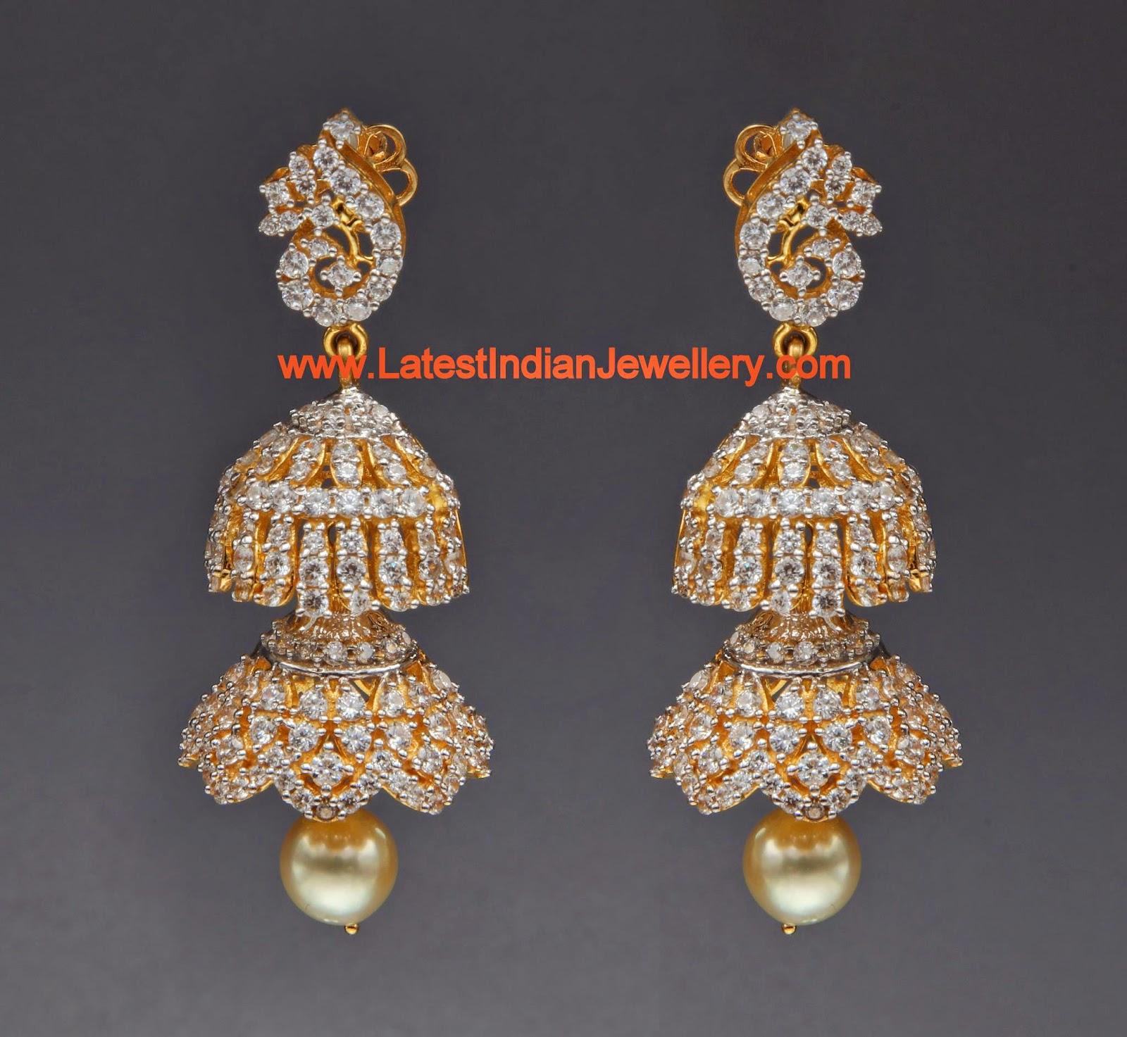 Two Step Diamond Jhumkas