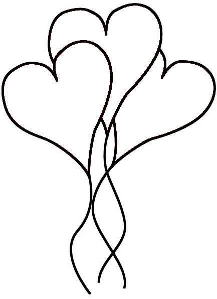 Globos en forma de corazón para colorear - Dibujo Views