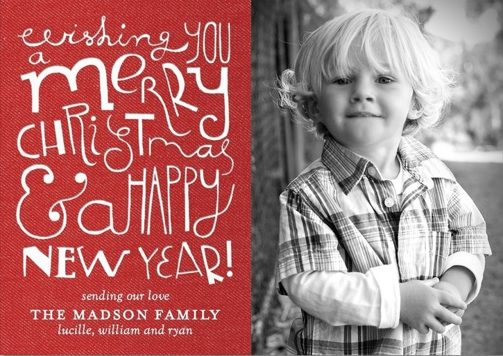Custom Christmas cards from Tiny Prints use quality, luxe paper for an enduring and memorable keepsake. Add your unique style with personalization options like these: Add photos to your holiday card, or no photos at all if you prefer. Card sizes are available in 5x7 and 5x5.