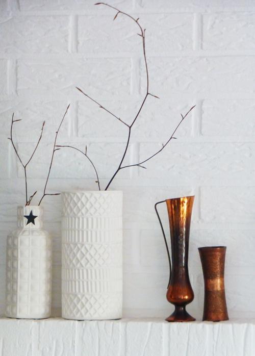 Vasen weiß kupfer