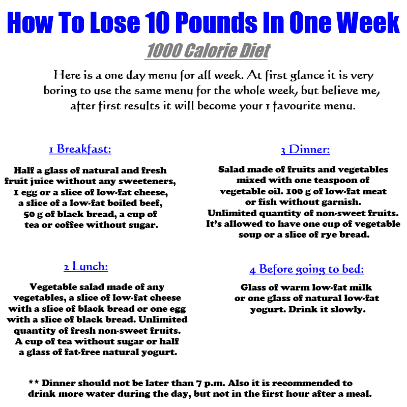 Lose 10 pounds in a week plan