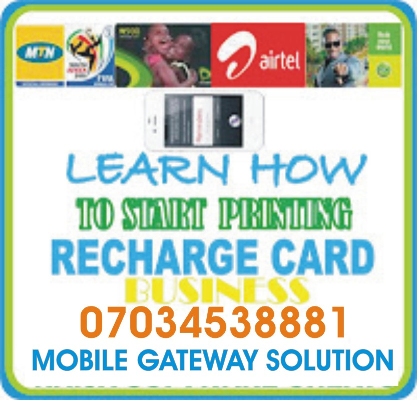 Nigerian Gateway: RECHARGE CARD PRINTING BUSINESS