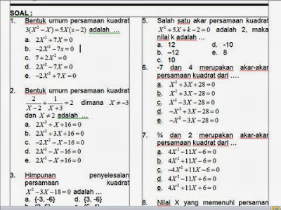 Bank Soal Matematika SMA Kelas X