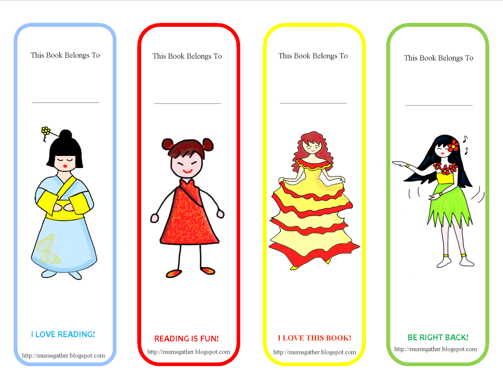 picture relating to Cute Bookmarks Printable titled Cost-free Printable Lovable Women Bookmark ~ Parenting Moments